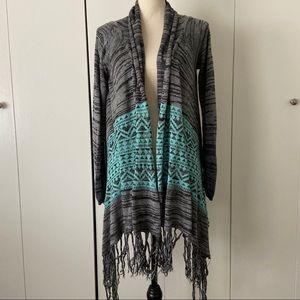🦋 Tribal Patterned Knit Open Cardigan